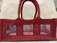 Medium jute 3 panel gift bag