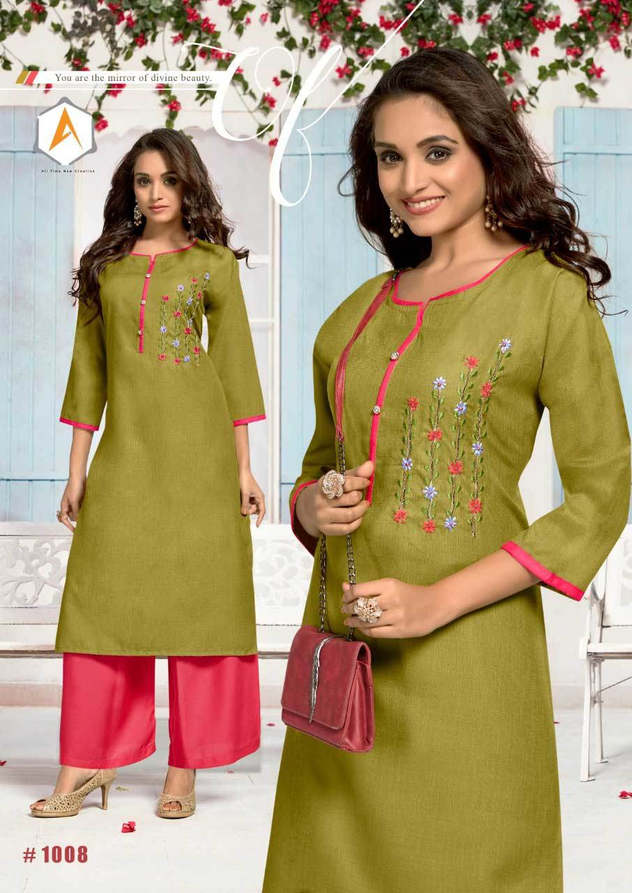 Cotton Slub Embrodary With Handwok Kurti