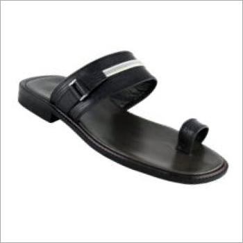 Mens Black PU Slippers