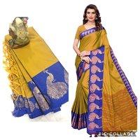 plain peacock cotton silk saree