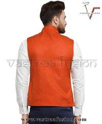Men Solid Ethnic Wear Orange Nehru Jacket