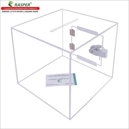 Rasper Transparent Acrylic Donation Box, Daan Patra, Drop Box, Ballot Box (Small Size 6x6x6 Inches, Square Shape) Premium Quality with Lock Facility