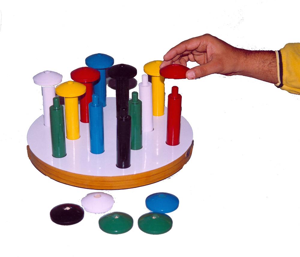 IMI-1552 Mushroom Peg Board (10 Pegs & 10 Tops)