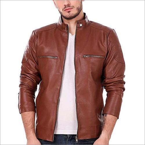 Mens Leather Retail Tan Solid Biker Jacket