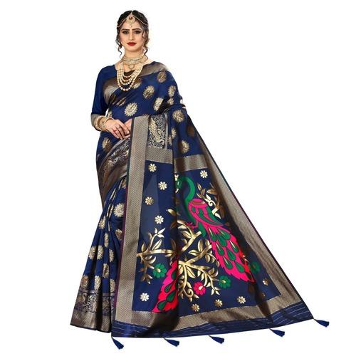 Beautiful Designer Banarasi Silk Saree With Latkan & Jacquard Work