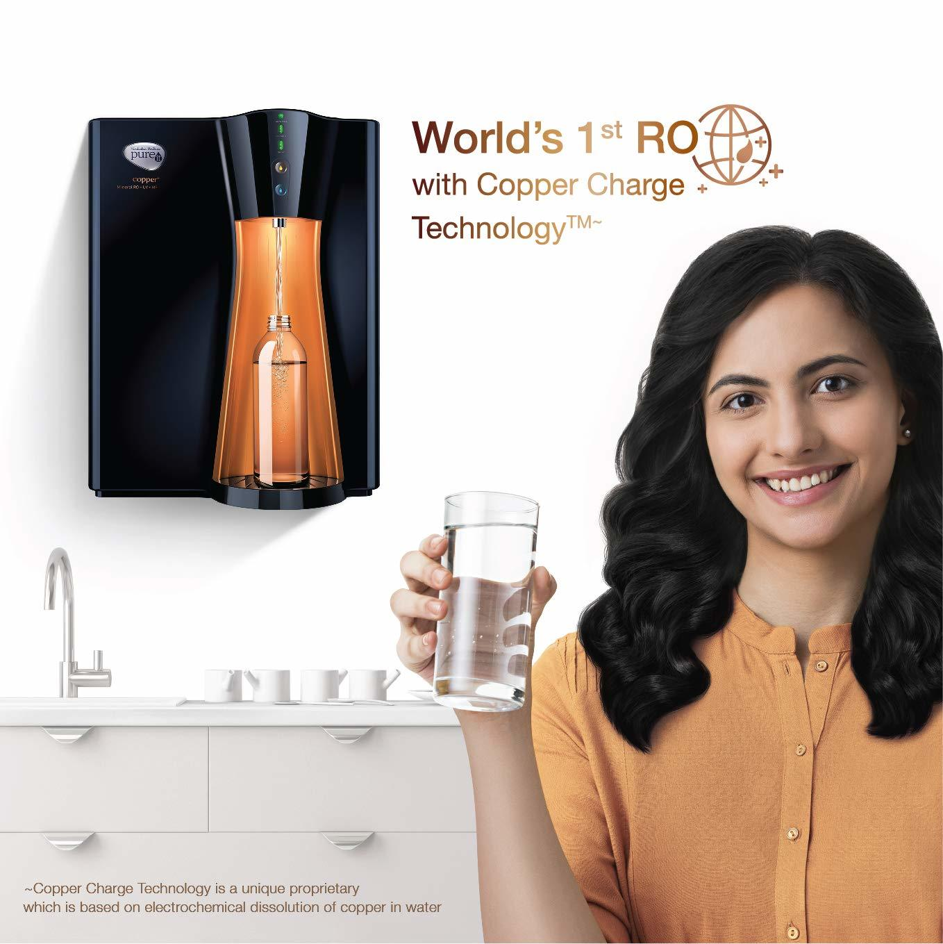 HUL Pureit Copper+ Mineral RO + UV + MF 7 stage Table top / Wall Mountable Black & Copper 8 litres Water Purifier