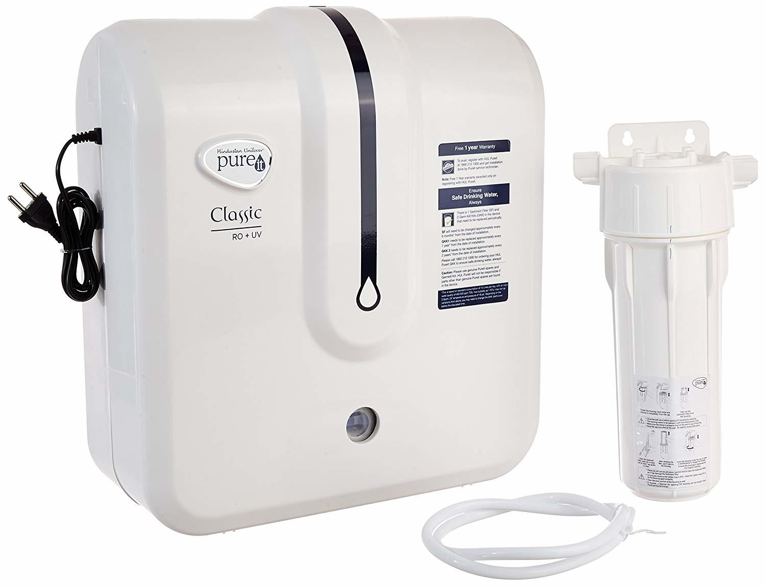 HUL Pureit Classic RO + UV 6 Stage Table Top/Wall Mountable White & Blue 5 litres Water Purifier