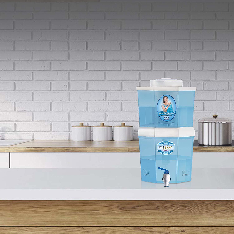 KENT Gold Optima 10-Litres Gravity Based Non-electric Water Purifier (Aqua Blue/White)