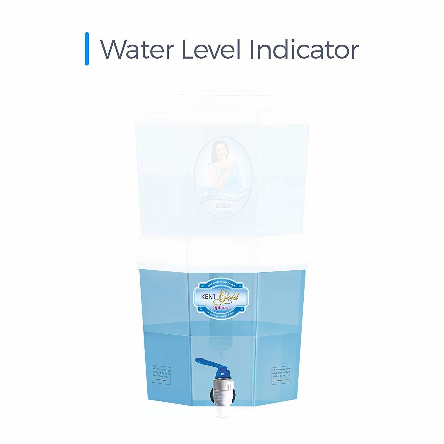 KENT Gold Optima 10-Litres Gravity Based Non-electric Water Purifier (Aqua Blue/White)