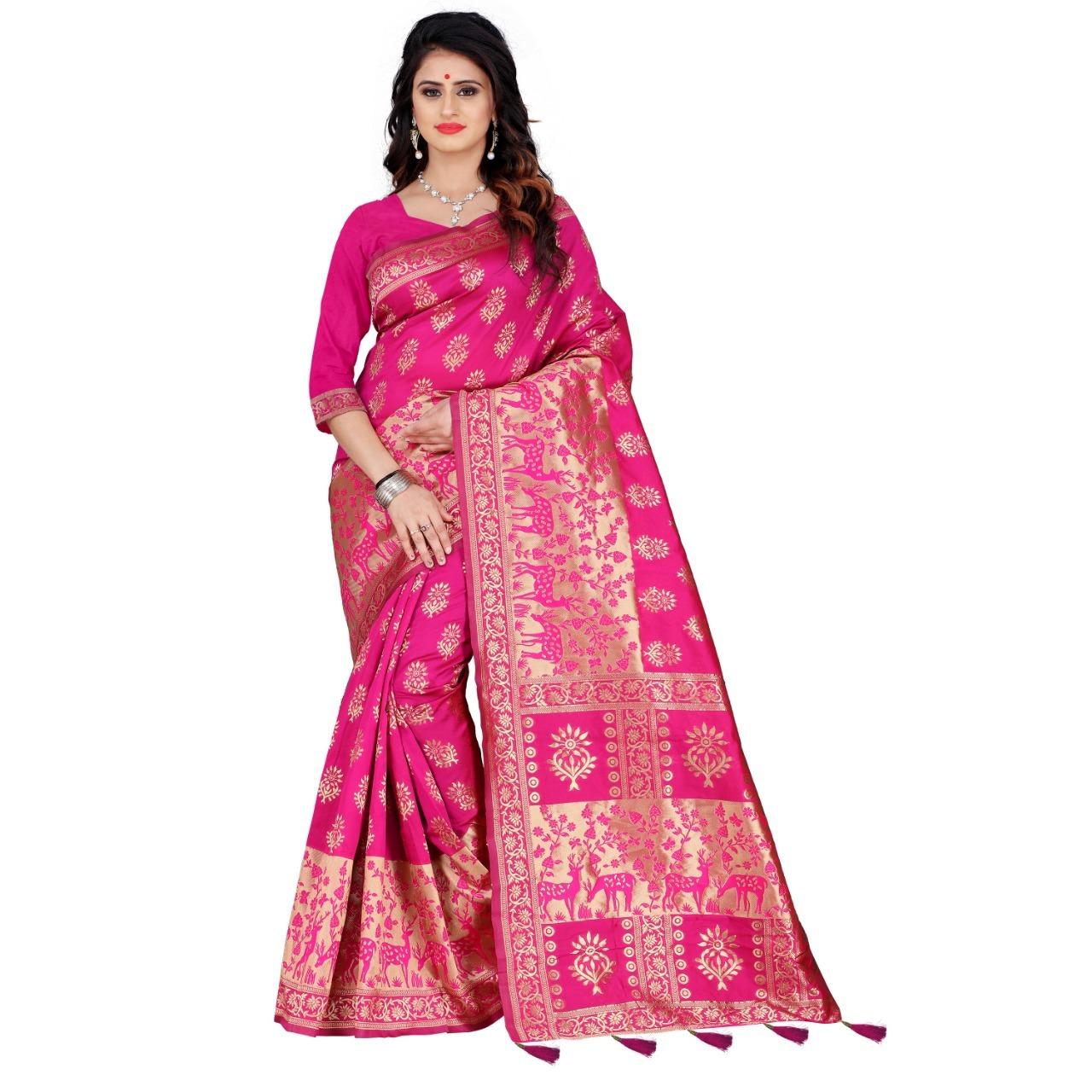 Rich Pallu Banarasi Silk Saree With Thread Work