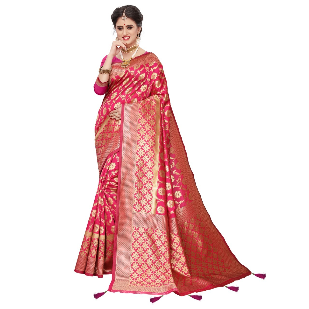 Jacquard Work Banarasi Silk Saree With Latkan
