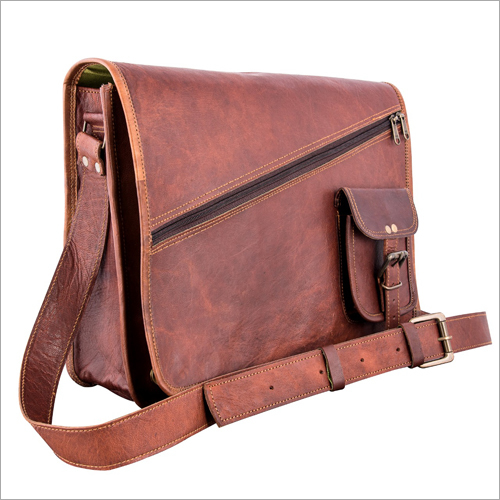 Pure Brown Leather Side Bag