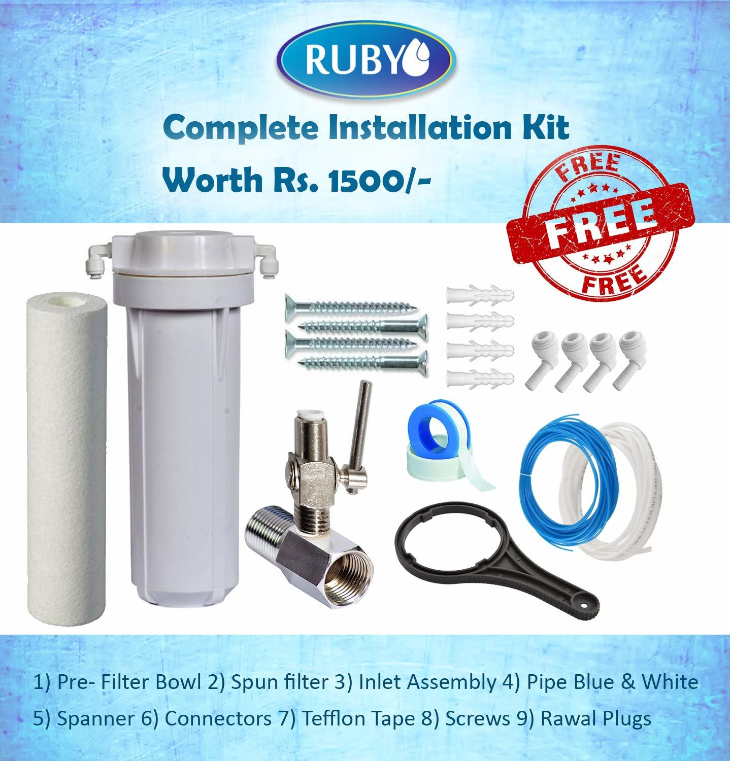 Ruby Water Purifier RO+UV+UF+MAT+TDS Controller 12 Stage Purification With Storage 12 Litres suitable for home and office Use With Pre-Filter,Sediment Filter,Activated Carbon & Mineral Cartridge