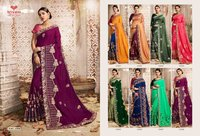 Chanderi Silk Party Wear Zari Saree