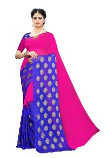 SHIFFON FABRIC JARI SAREES WITH 6 COLORS