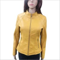 Ladies Leather Yellow Jacket