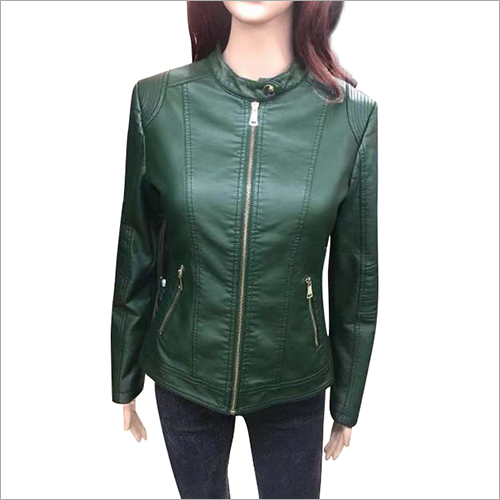 Ladies Leather Solid Biker Jacket