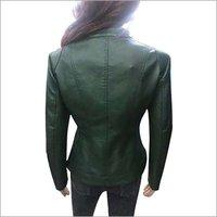 Ladies Leather Solid Biker Jacket