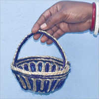 Jute Braided Small Basket With Handle