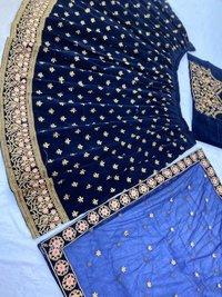 Heavy Blue Velvet Lehenga Choli