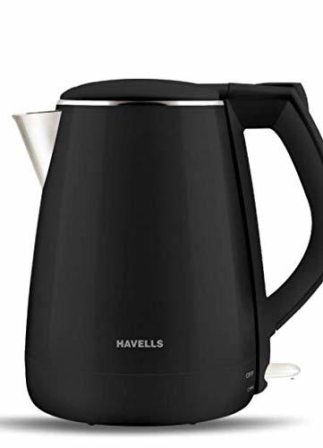 HAVELLS Aqua Plus Black (1500 W) Kettle/Tea Kettle/Tea and Coffee Maker/Milk Boiler/Water Boiler/Tea Boiler/Coffee Boiler Stainless Steel 1.2l