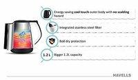 HAVELLS Aqua Plus Black (1500 W) Kettle/Tea Kettle/Tea and Coffee Maker/Milk Boiler/Water Boiler/Tea Boiler/Coffee Boiler Stainless Steel 1.2l