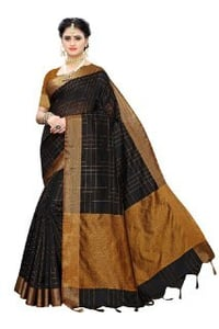 Cotton Silk Saree Ikkat Chokda With Blouse