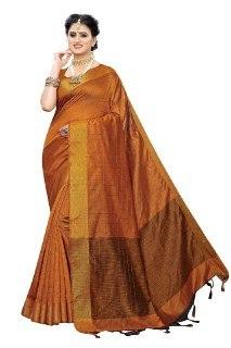 Cotton Silk Saree Ikkat Chokda With Blouse