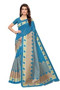 Fancy Flower Print Khadi Silk Saree