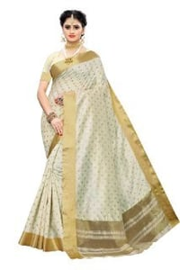 Cotton Silk Saree Kerala With Blouse