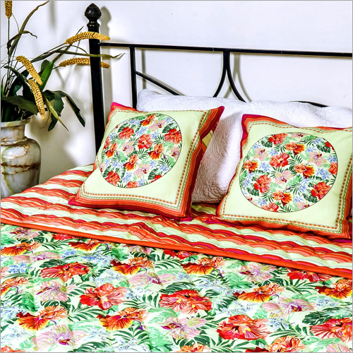 Printed Quilt And Cushion Cover Set