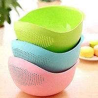 Rice Pulses Fruits Vegetable Noodles Pasta Washing Bowl and Strainer (Multicolour)