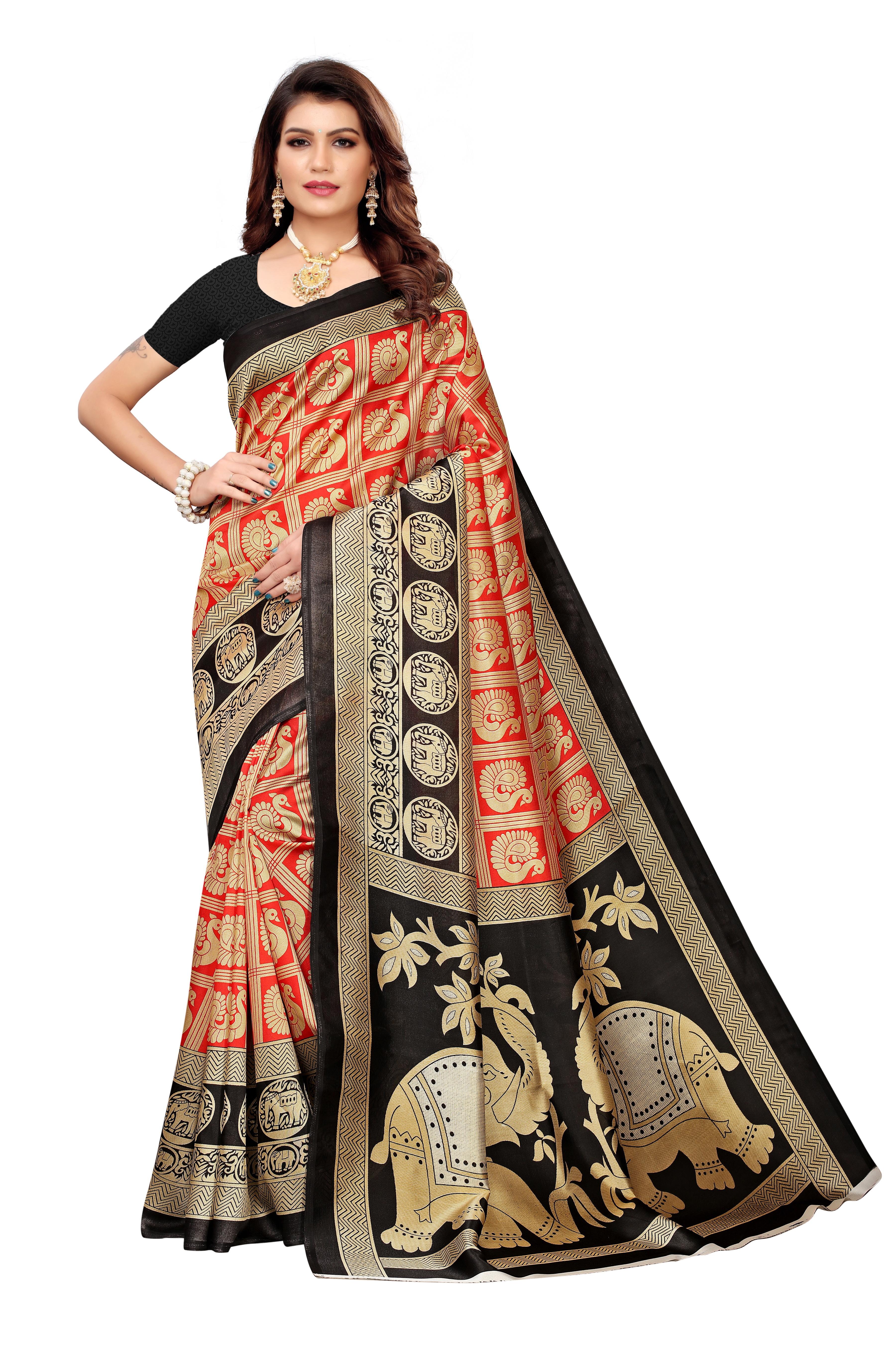 Kalamkari Big Border printed saree