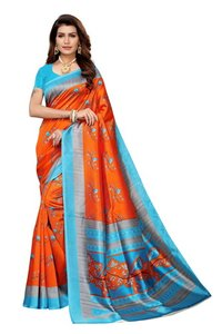 Bird printed Khadi Silk Saree