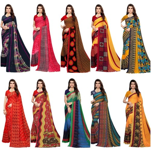 Gerorget cotton saree with attached blouse