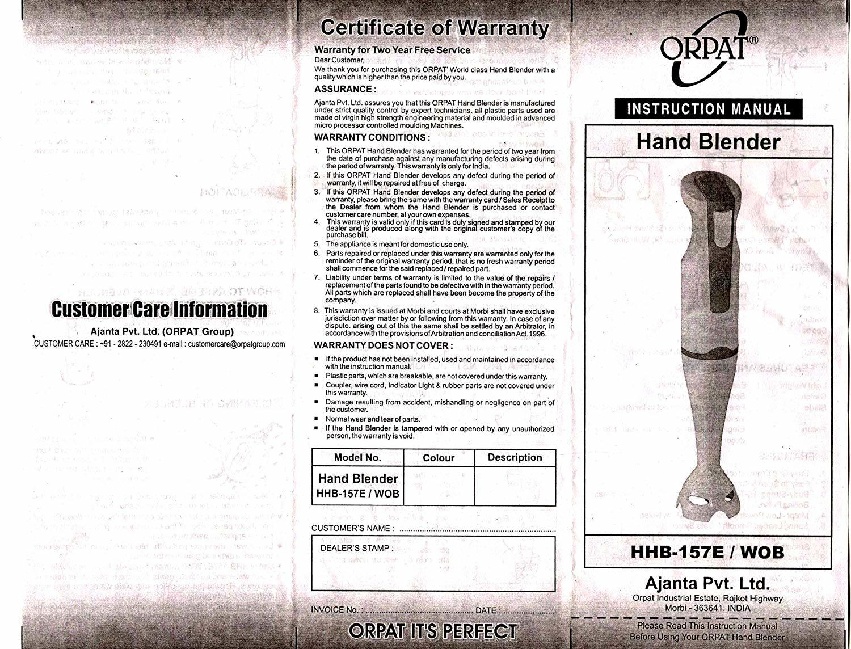 Orpat HHB-157E WOB 250-Watt Hand Blender (Black-R)