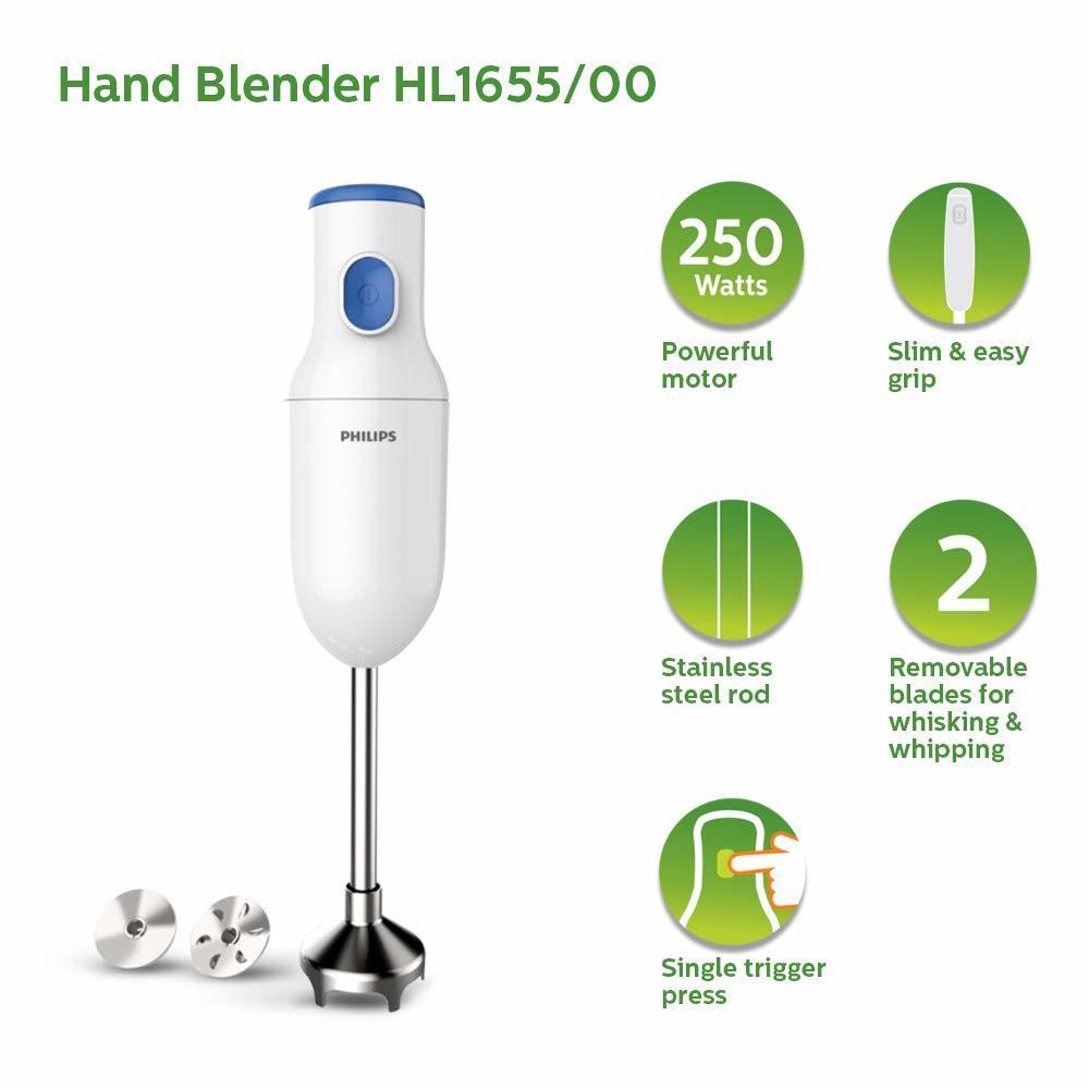 Philips Daily Collection HL1655/00 250-Watt Hand Blender (White)