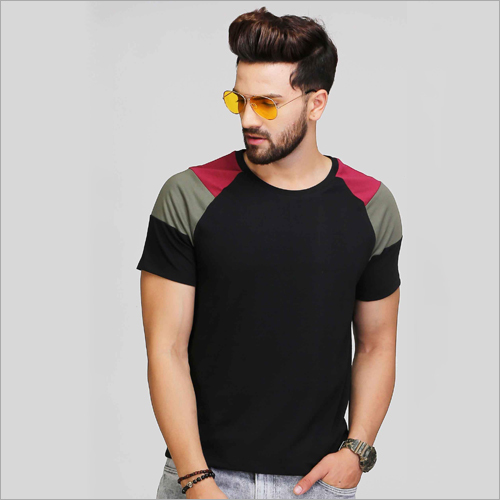 Mens Black Designer Sleeve T-Shirt