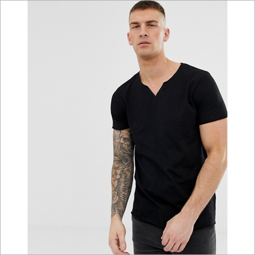 Mens Black T-shirt With Notched Neckline