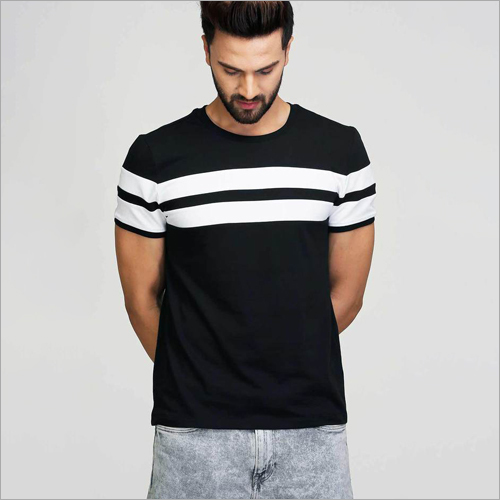 Mens Black With White Stripe T-Shirt