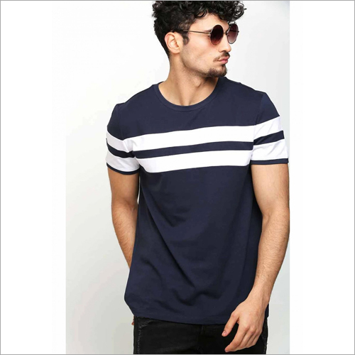 Mens Blue With White Strip T-Shirt