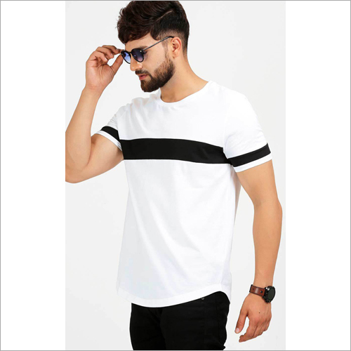 Mens Crew Neck White Casual T-Shirt