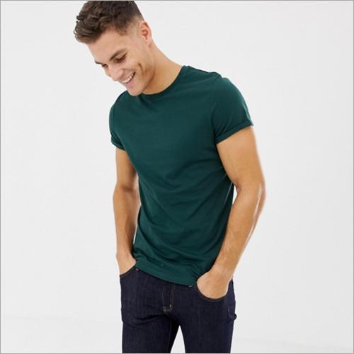Mens Dark Green Round Neck T-Shirt