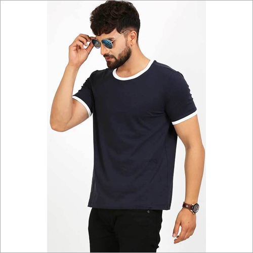 Mens Designer Crew Neck Blue T-Shirt With White Strip