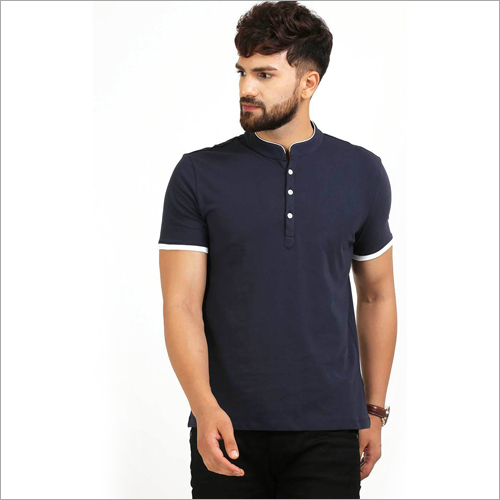 Mens Henley Neck Navy Blue T-Shirt