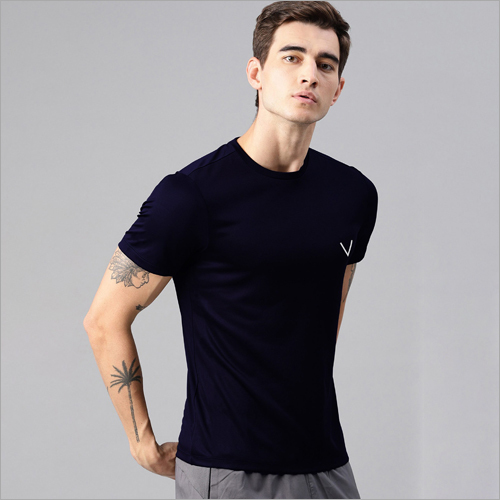 Mens Blue Sports Regular Fit Half Sleeve T-Shirt