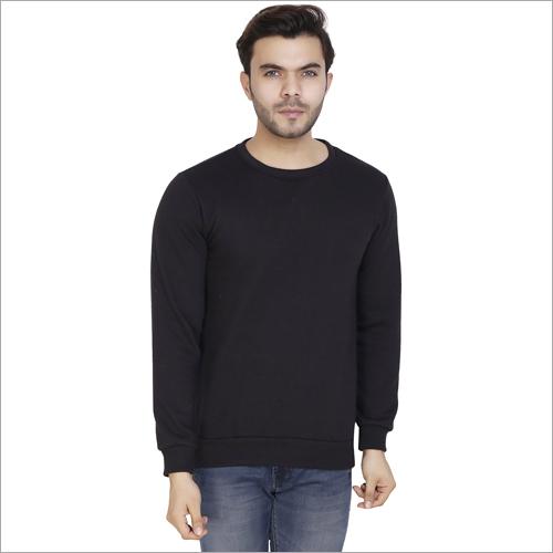 Mens Flix Black Solid Crew Sweatshirt