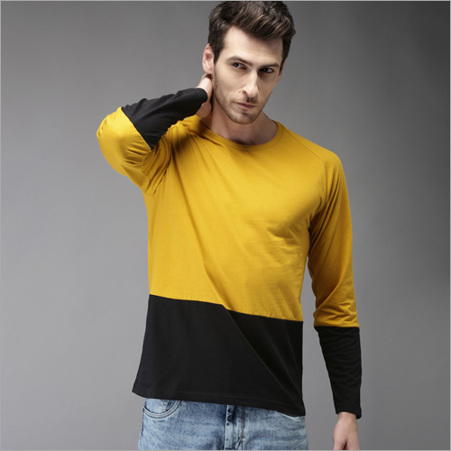 Mens Mustard and Black Panel Round Neck T-Shirt
