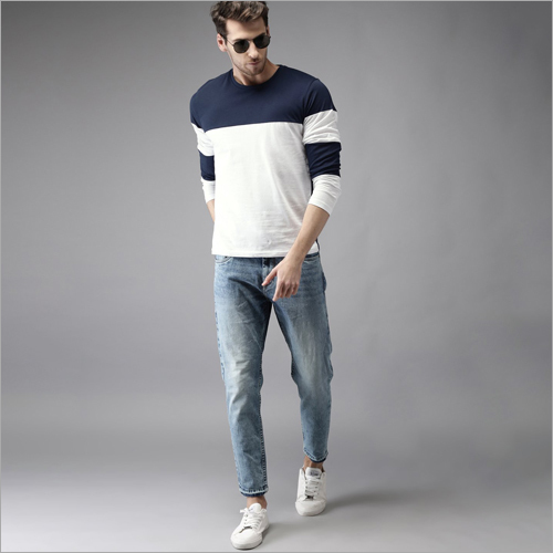 Mens Navy Blue and White Panel Round Neck T-Shirt