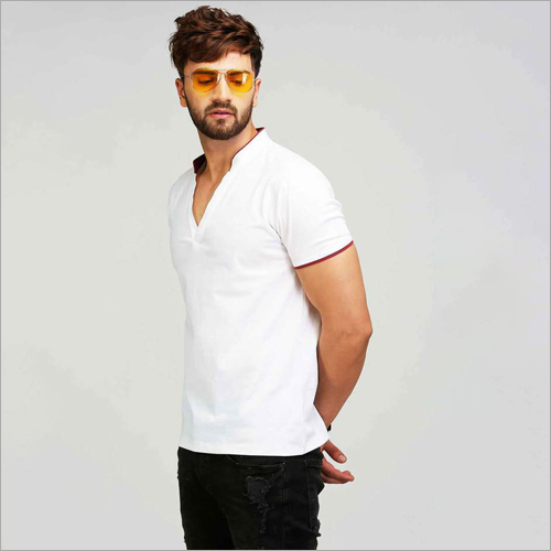 Mens V Neck Collar T-Shirt
